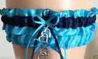 Turquoise and Navy Blue Wedding Garter Set INCLUDING Tossing Garter /Lovely