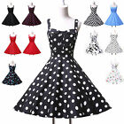 UK CHEAP 50'S RETRO VINTAGE STYLE POLKA DOT ROCKABILLY SWING FLORAL DRESS PLUS++