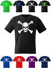 Skull and Crossbones T Shirt Goth Horror Fancy Dress Death Symbol Pirate Biker