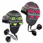 SALE ITEM WAS £15.99 Brave Soul LHAT-253SKI Mens Trapper Ski Hat With Pom Poms