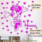 Minnie Mouse Personalised Kids Children Name Vinyl Wall Sticker Art Decal 6A4