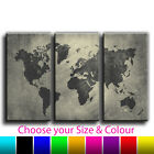 Maps - Abstact Vintage World Map Canvas Art Print Treble Box Framed Picture 1O