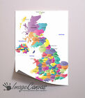 UK MAP GIANT WALL ART POSTER A0 A1 A2 A3
