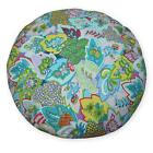 af250n Purple Pink Flower Cotton Canvas Round Cushion/Pillow Cover*Custom Size*