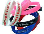 Blood Group O Positive Patient  Silicone Medical Help Wrist Bands 2 bands pack