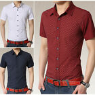 New Men's Polka Dot Summer Luxury Casual Slim Fit Short Sleeve Dress Shirts DT85
