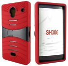 For SHARP Aquos Crystal 306 Heavy Duty Double Layer Hybrid Kickstand Case Cover