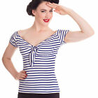 Hell Bunny Nautical Navy Stripe Dolly Tie Top Sizes 8 - 22