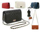 Classic Quilted Full Flap Bag In Faux Leather Chain Handbag Messenger Purse 06