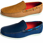 Mens Slip On Moccasin Duke D555 Otto King Size Loafers Canvas Suede Boat Shoes