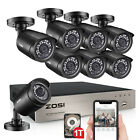 ZOSI 8CH H.265+ 5MP Lite DVR 1080P Outdoor Home Security Camera System 1TB HDD