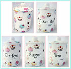 Fairy Cupcakes Canister Bone China Tea Coffee Sugar Biscuits Plain Storage Jar