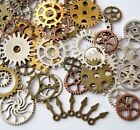 50 Bronze Silver Gold Steampunk Cogs and Gears Clock Hand Charm Mix (TSC66)