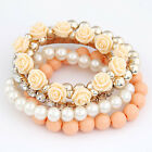 LUXURY ROSE CHARM BRACELET ¦ PEARL ¦ MULTI STRAND ¦ BEAD ¦ 6 COLOURS