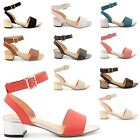 NEW WOMENS LADIES ANKLE STRAP LOW BLOCK HEEL SHOES CHUNKY BUCKLE SANDALS SIZE
