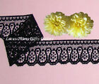"4 Yards Lace Trim Black Scroll 1-3/4"" Scalloped P14AV Added Items Ship No Charge"