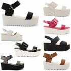 NEW WOMENS DOLCIS PEEP TOE LADIES STRAPPY WEDGE CHUNKY FLATFORM SANDALS SHOES