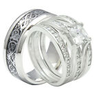 4 Pcs His & Hers 925 Sterling Silver Tungsten Engagement Wedding Ring Band Set