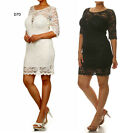 D70 Womens Black Cocktail Wedding Sping Party Evening Bodycon Lace Dress Plus