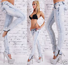 SEXY WOMEN'S WASHED BLUE HIPSTER SKINNY SLIM JEANS WITH CROCHET.