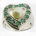 .925 Sterling Silver 1.68 Ct Emerald & Pearl Ring