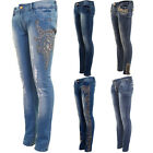 Womens Diamante Ripped Low Rise High Waist Faded Skinny Denim Jeans