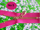 PINK  ZIP/ METAL GOLD TEETH CLOSED ENDED. No 5 Different Sizes.(70 cm - 15 cm)