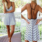 New Fashion Womens Summer Sleeveless White Striped Casual Mini Dress New
