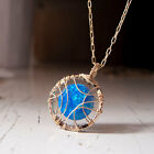 Blue opal neklace - circle gold necklace - Dark blue stone necklace - Opal jewel