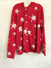 """M.Mac's """"Skulls"""" Button Down Hoodie in Red with White Print - SM,1x and 2x"""