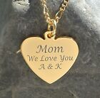PERSONALIZED GOLD HEART NECKLACE PENDANT WITH FRONT SIDE CUSTOM ENGRAVED FREE