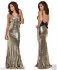 GOLD PLUNGE FULL STRETCH SEQUIN LOW BOW BACK FISHTAIL MAXI DRESS UK SIZE 8-16