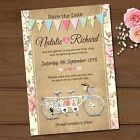 Personalised Wedding Day Save the Date Cards & Envelopes *Tandem Bike Bunting