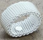 Chain Link Cable Mesh Band Ring Sterling Silver PL 925 8 mm Designer Style