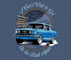 Ford Mustang On The Road Again BLUE Adult T-shirt