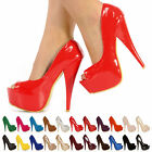 NEW LADIES WOMENS FASHION HIGH HEELS PARTY PLATFORM PEEPTOE SHOES SIZE 3-8