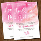 Pink Butterfly Wedding Save the Date Cards & Envelopes *Watercolour Butterflies