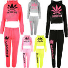 Ladies Addicted Hooded 2 Pc Full Tracksuit Cropped Hoody & 3 Quarter Bottoms