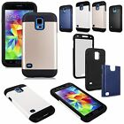 Samsung Galaxy S5 SV i9600 Hybrid Armor Hard Soft Built In Screen Protector Case