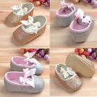 Baby Kid Girls Shine Newborn Antislip Bowknot Soft Sole Ribbon Crib Shoes 0-18 M
