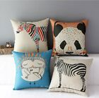 Linen Animals Print Kids Bedding Cushion Cover Panda Owl Sofa Throw Pillow Case