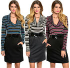 FASHION WOMEN COWL NECK LONG SLEEVE STRETCH CASUAL PARTY OFFICE DAY BELTED DRESS