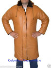 Men Honey Leather Coat with Removable Hood Sz S-5XL or Custom Made