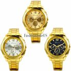 Men's Luxury Decoration Dial Quartz Wrist Watch Gold Tone Stainless Steel Band image
