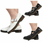 LADIES WOMENS FLAT CASUAL BUCKLES CHUNKY T BAR BROGUE WORK SHOES SIZE 3-8