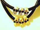 A Stunning Fashion 3 Skulls With Thick Black Leather Collar Necklace,L43+5cm,2cm