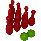Large Ten Pin Bowling (10 x 29cm Big Plastic Pins + 2 Skittles Balls)