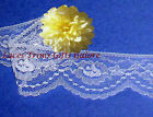 """5 Yards Lace Trim White Roses 2-1/8"""" Scalloped H01AV Added Items Ship No Charge"""