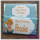 Personalised Kids Chocolate Bar Wrapper Favours Sweets Gifts (Cinderella 1)