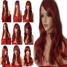 BURGUNDY Wig Natural Long Curly Straight Wavy Fancy dress Full Ladies Hair Wig